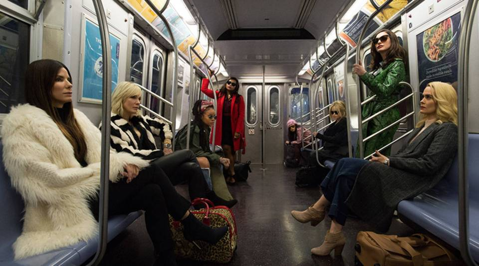 """(L-R) Sandra Bullock as Debbie Ocean, Cate Blanchett as Lou, Rihanna as Nine Ball, Mindy Kaling as Amita, Awkwafina as Constance, Helena Bonham Carter as Rose, Anne Hathaway as Daphne Kluger and Sarah Paulson as Tammy in Warner Bros. Pictures' and Village Roadshow Pictures' """"Oceans 8,"""" a Warner Bros. Pictures release."""
