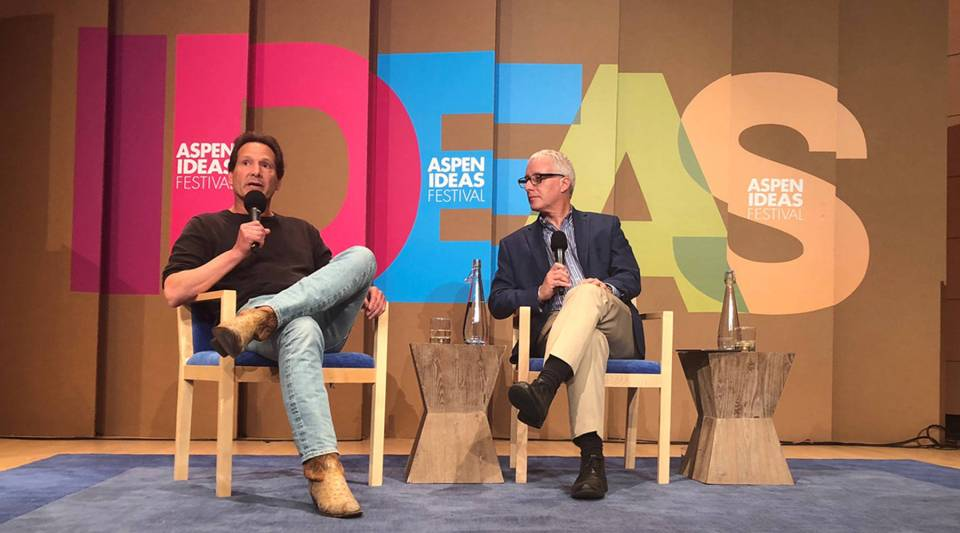 Dan Schulman, left, the CEO of PayPal, on stage with Marketplace Morning Report host David Brancaccio at the 2018 Aspen Ideas Festival.