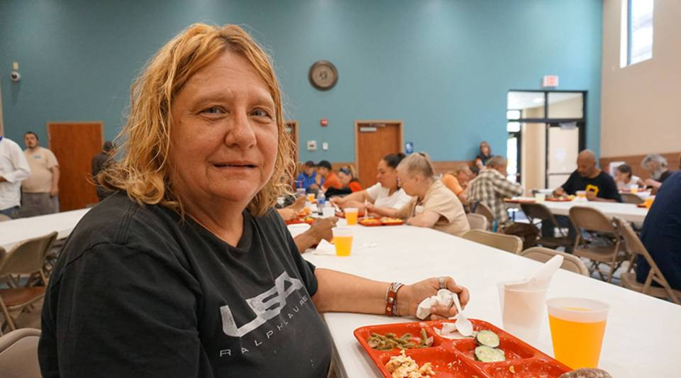 Roberta Lubman, 66, regularly eats lunch at the Erie City Mission in downtown Erie. The free daily meal supplements what she receives from SNAP.