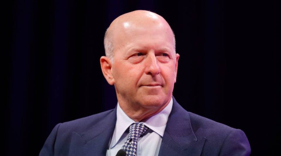 Goldman Sachs President David Solomon speaking onstage at a summit late last year.