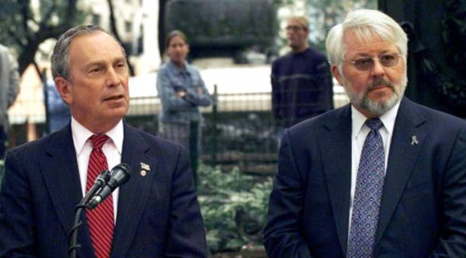 Mayor Michael R. Bloomberg (L), joined by Dr. Jeffrey S. Wigand (R), the anti-tobacco advocate and founder of the non-profit organization 'Smoke-Free Kids,' announces plans for the 2002 Smoke-Free Air Act at Union Square Park in New York City on October 9th, 2002.