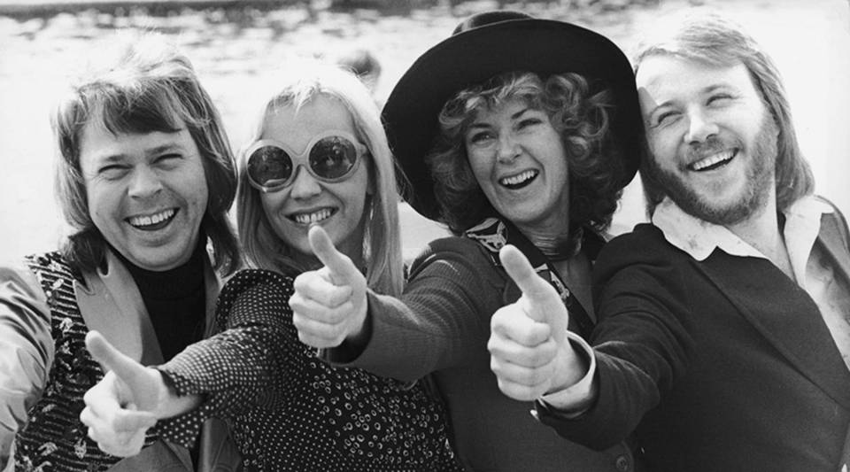 """Swedish pop group ABBA gives the thumbs up after winning the Eurovision Song Contest with """"Waterloo"""" in 1974. Left to right: Björn Ulvaeus, Agnetha Fältskog, Anni-Frid Lyngstad and Benny Andersson."""