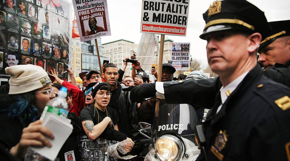 Protesters scuffle with police during a march against police violence in Manhattan in 2015.