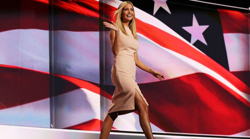 Ivanka Trump waves to the crowd as she walks on stage to deliver a speech during the Republican National Convention on July 21, 2016 at the Quicken Loans Arena in Cleveland, Ohio.