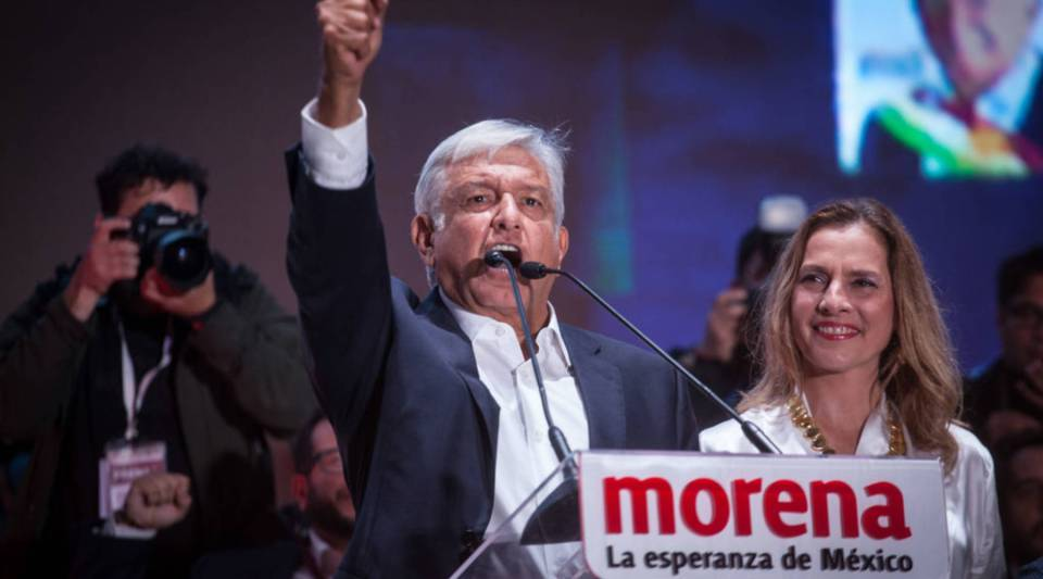 President-elect Andres Manuel Lopez Obrador speaks during a celebration event at the end of the Mexico 2018 Presidential Election on Sunday in Mexico.