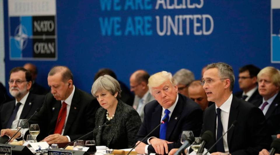 A view of world leaders during a NATO summit in May of last year.