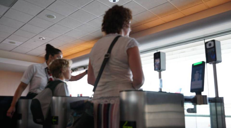 Biometric boarding uses measurements of facial features to match passengers' images against passport photo data on file with U.S. Customs and Border Protection.