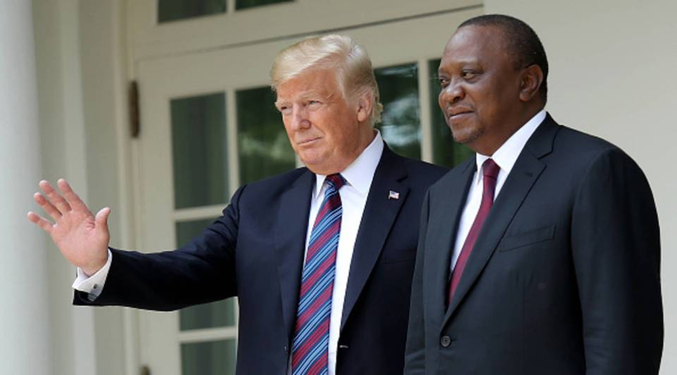 President Donald Trump welcomes Kenyan President Uhuru Muigai Kenyatta to the White House Aug. 27, 2018 in Washington, DC.