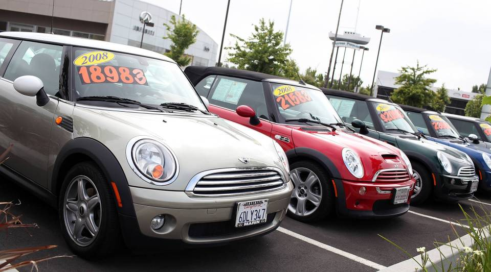Used cars are displayed on a sales lot on June 9, 2011 in San Rafael, California.