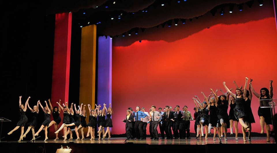 Nominees perform the opening number at the 2011 National High School Musical Theater Awards at The Minksoff Theatre in New York City.