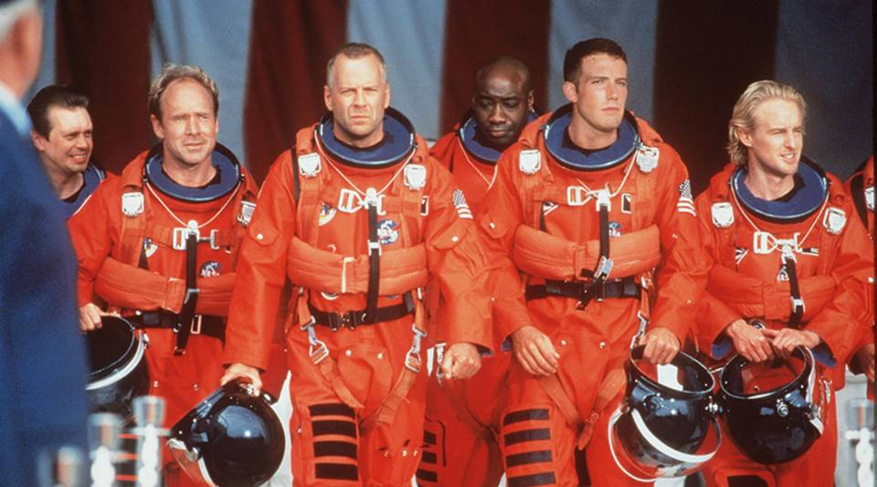 "From left, Steve Buscemi, Will Patton, Bruce Willis, Michael Duncan, Ben Affleck, and Owen Wilson are on a mission to save Earth from an asteroid in ""Armageddon."""