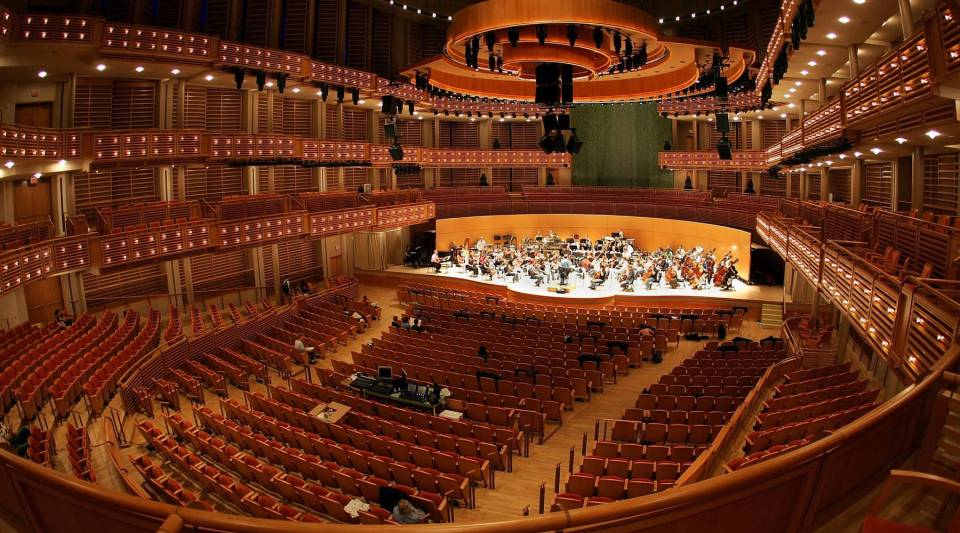 The New World Symphony rehearses on stage at The Knight Concert Hall in the Carnival Center for the Performing Arts October 3, 2006 in Miami, Florida.