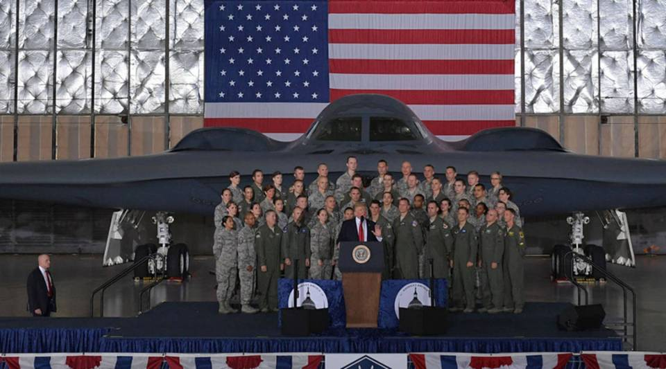 President Donald Trump speaks to members of the military at Joint Andrews Air Force base, Maryland, on Sept. 15, 2017.