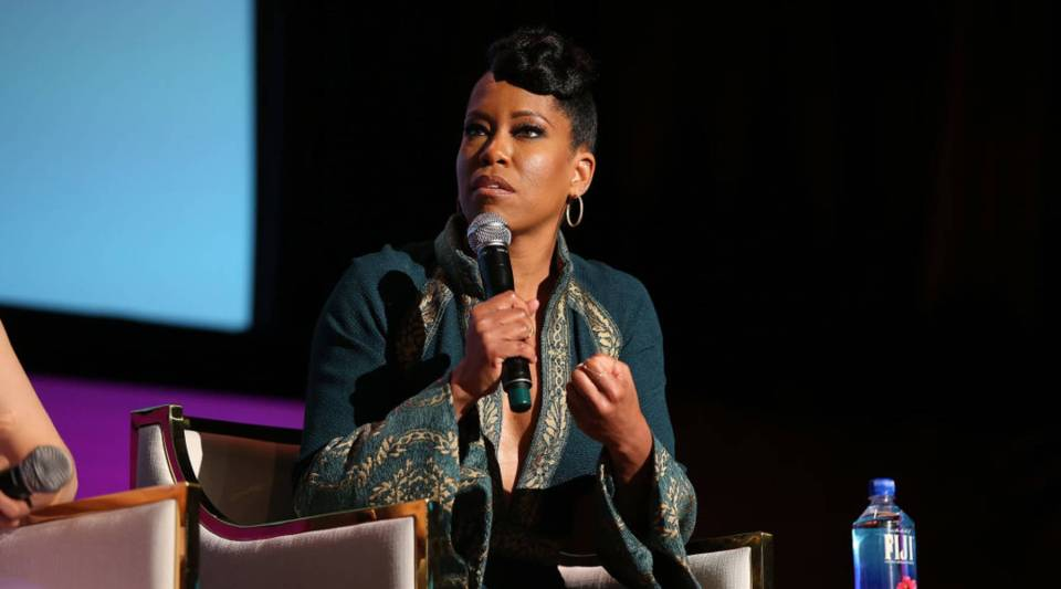 """Regina King says that in a lot of ways, """"I do feel like I'm just getting started."""" Above, she speaks at a Netflix event in Beverly Hills, California, in May."""