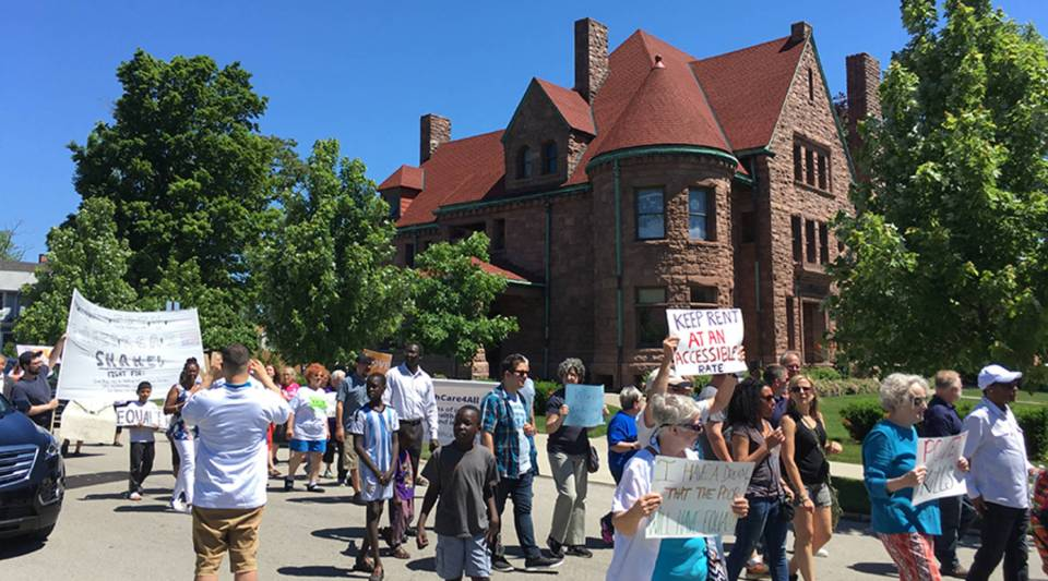 The Poor People's Campaign March makes its way through downtown Erie. Marchers advocated for increased affordable housing in Erie, better-paying jobs and more accountability from elected officials.