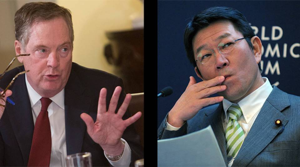 Left, U.S. Trade Representative Robert Lighthizer and Japanese Economic Minister Toshimitsu Motegi are meeting today in Washington, D.C. on trade.