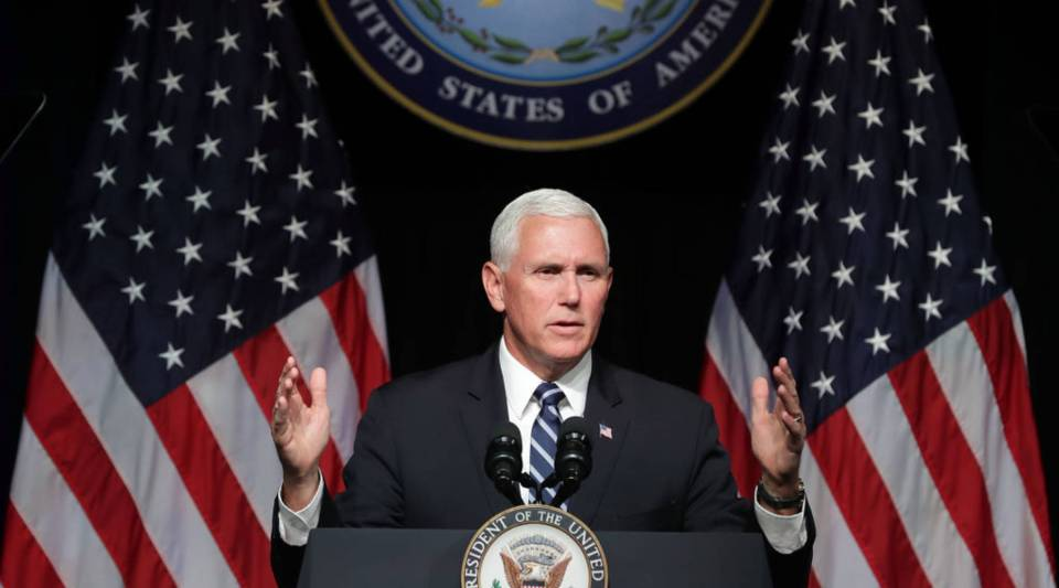 U.S. Vice President Mike Pence announces the Trump administration's plan to create the U.S. Space Force by 2020 during a speech at the Pentagon on Thursday in Arlington, Virginia. Describing space as adversarial and crowded and citing threats from China and Russia, Pence said the new Space Force would be a separate, sixth branch of the military.