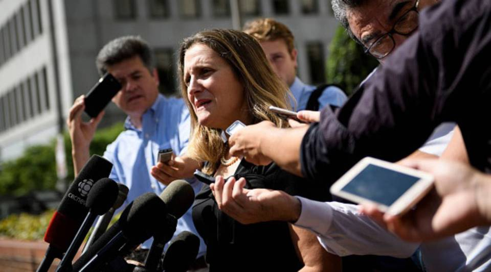 Canada's Foreign Minister Chrystia Freeland speaks with reporters as she arrives for a meeting at the US Trade Representative's office Sept. 5, 2018 in Washington, DC.