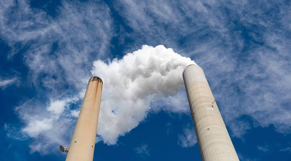 The smoke stacks at American Electric Power's Mountaineer coal power plant in New Haven, West Virginia, in 2009.