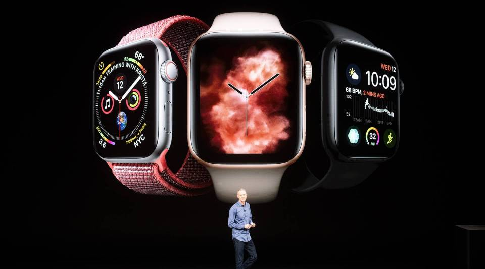 Apple COO Jeff Williams discusses Apple Watch Series 4 during an event on Sept. 12, 2018, in Cupertino, California