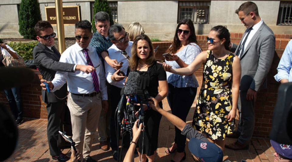 Canadian Foreign Minister Chrystia Freeland speaks with reporters as she arrives for a meeting at the U.S. Trade Representative's office in Washington, D.C., on Sept. 19.