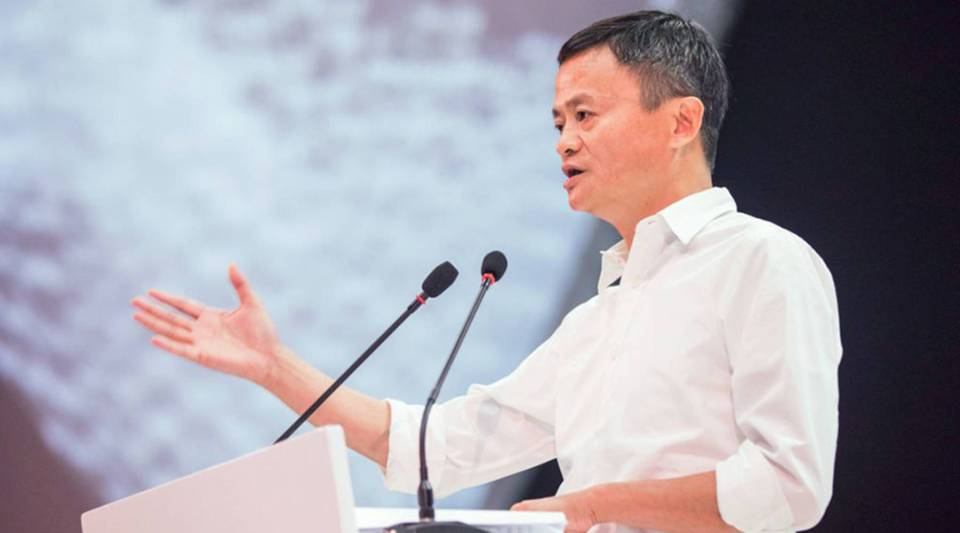 Alibaba founder Jack Ma delivers a speech during the Computing Conference in Hangzhou in China's eastern Zhejiang province on Sept. 19.
