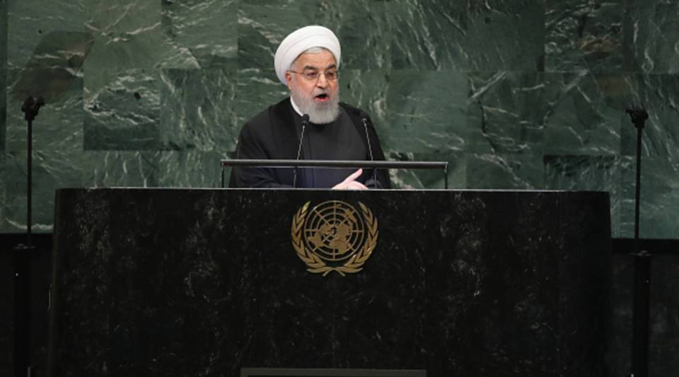Iranian President Hassan Rouhani addresses the United Nations General Assembly on Sept. 25.