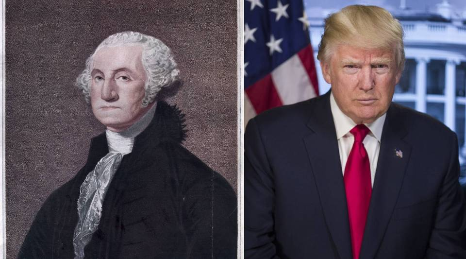 First U.S. President George Washington and 45th President Donald Trump