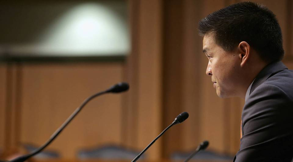 Bradley Katsuyama, IEX Group president and CEO, testifies before the Senate Homeland Security and Governmental Affairs Investigations Subcommittee about high-speed stock trading in U.S. markets on Capitol Hill in 2014.