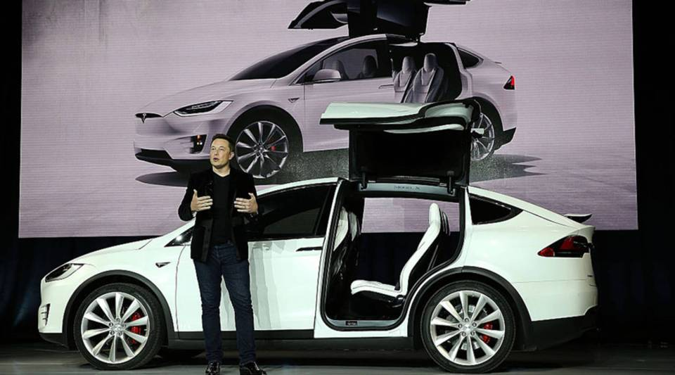 Tesla CEO Elon Musk speaks during an event to launch the Model X Crossover SUV in 2015 in Fremont, California.