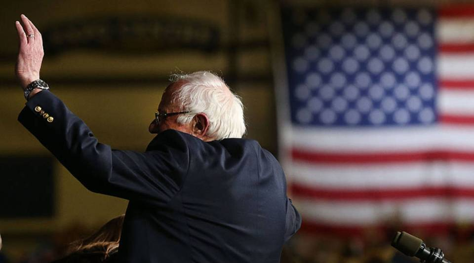 Democratic presidential candidate Sen. Bernie Sanders (D-VT) speaks to supporters after winning the Vermont primary on Super Tuesday on March 1, 2016, in Essex Junction, Vermont.