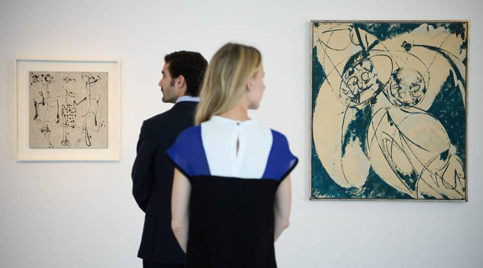 """Mister Blue,"" the work on the right, is by Lee Krasner, one of the main artists discussed in Mary Gabriel's new book. It was shown at the Ordovas gallery in London in 2016."