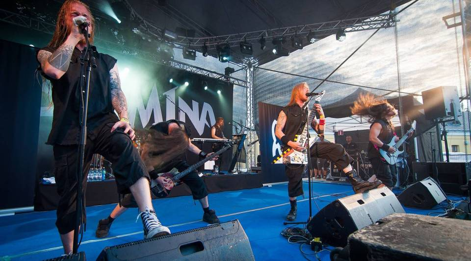 Finnish thrash metal band Stam1na performing at the 2014 Rakuuna Rock festival in Lappeenranta, Finland. The band's hometown Lemi, population 3,076, was recently crowned the Capital of Metal.