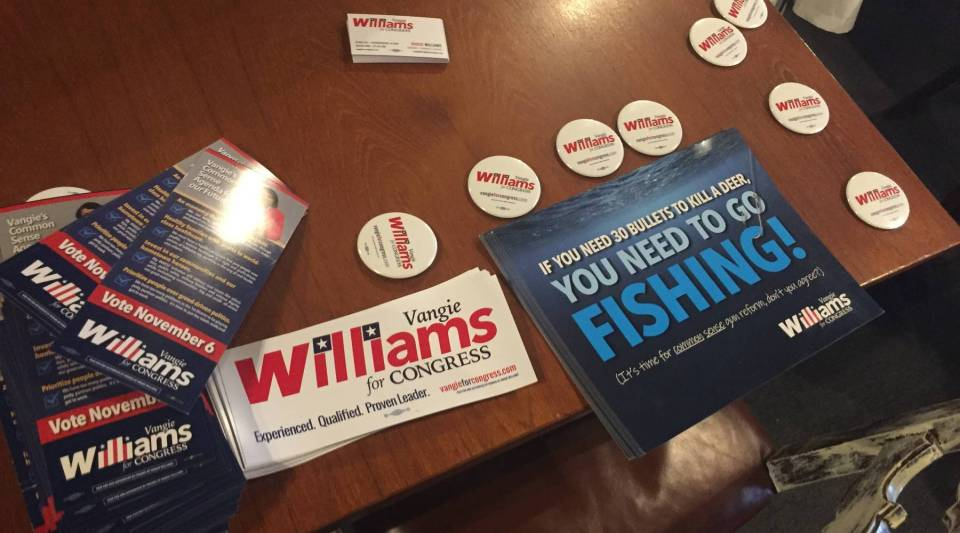 Campaign stickers, buttons and other materials for first-time Democratic congressional candidate Vangie Williams. Williams is a first-time candidate running in Virginia's first congressional district. One of the many things first-time candidates have to learn is how to ask for money.
