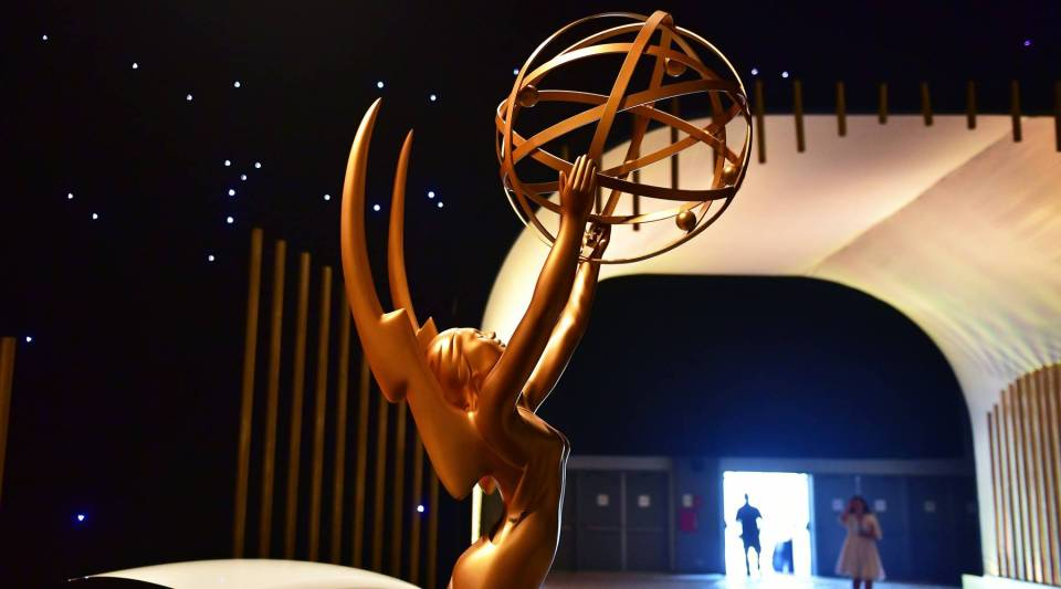 A statue of the Emmy Award seen upon entry on display at the 2017 Emmy Awards Governors Ball press preview on September 7, 2017, in Los Angeles, California, ahead of the 69th annual Emmy Awards.