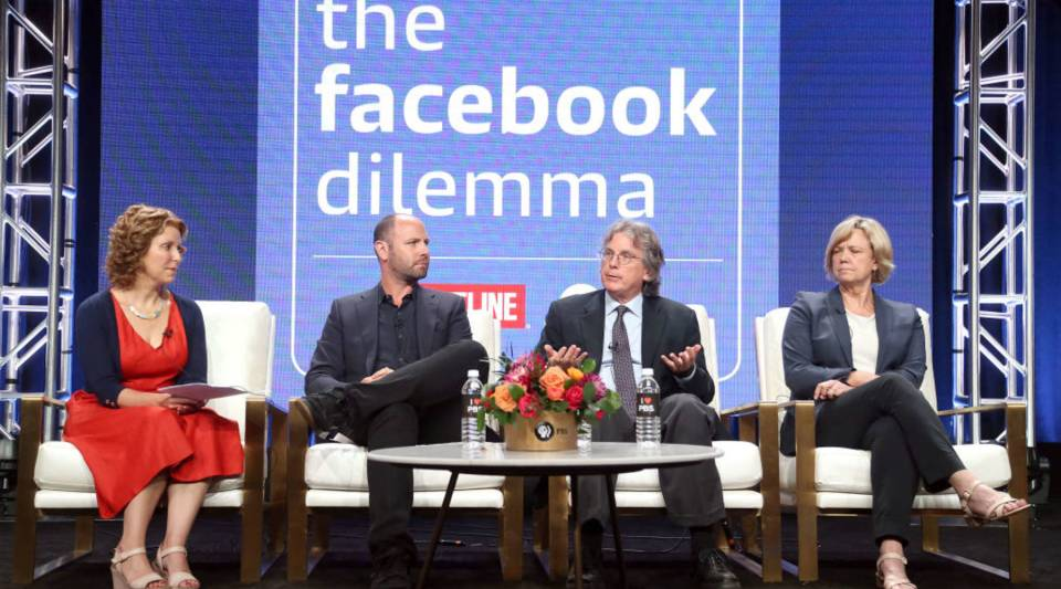 (L-R) Raney Aronson-Rath, James Jacoby, Roger McNamee, and Dana Priest of the television show 'The Facebook Dilemma' speak during the PBS segment of the Summer 2018 Television Critics Association Press Tour at the Beverly Hilton Hotel on July 31, 2018 in Beverly Hills, California.