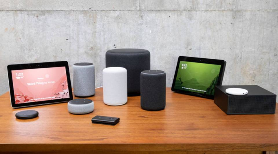 An assortment of recently launched Amazon devices, including an Echo Input, Echo Show, Echo Plus, Echo Sub, Echo Auto and Fire TV Recast are pictured at the company headquarters in Seattle in September.