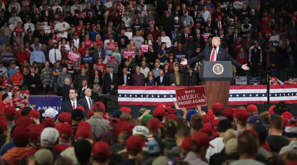 President Donald Trump speaks to supporters during a rally at the Kansas Expocentre on Oct. 6 in Topeka.