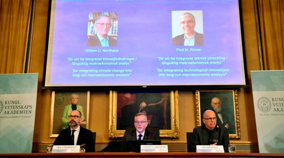 Per Stroemberg, Goeran K Hansson and Per Krusell announce the laureates of the Nobel Prize in Economics during a press conference at The Royal Swedish Academy of Sciences in Stockholm on October 8, 2018. - The Nobel Prize for Economic sciences 2018 was awarded US economists Paul M Romer and William D Nordhaus.
