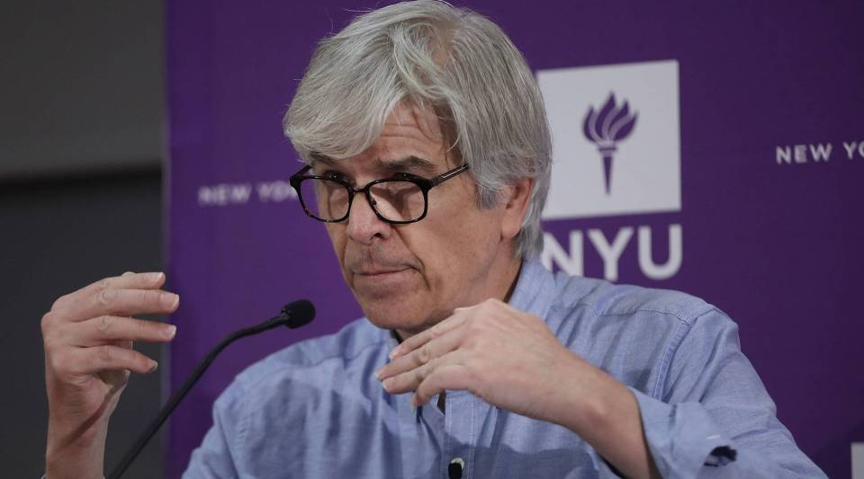 New York University professor Paul Romer speaks at a news conference after being named a winner of the 2018 Nobel Memorial Prize in Economics with professor William D. Nordhaus of Yale University on Oct. 8, 2018 in New York City.