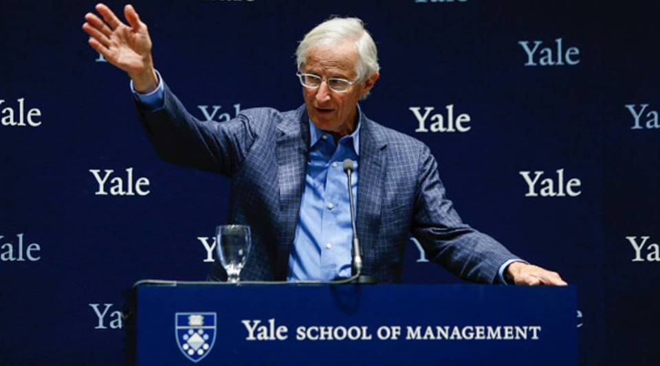 Yale Professor William Nordhaus speaks during a press conference after winning the 2018 Nobel Prize in Economic Sciences at Yale University on Oct. 8, 2018 in New Haven, Connecticut.
