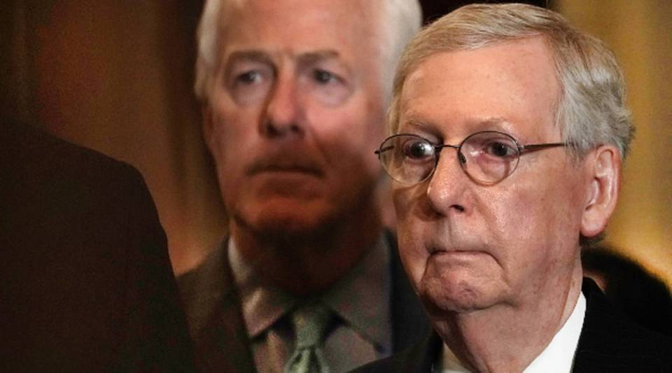 Senate Majority Leader Sen. Mitch McConnelllistens during a news briefing after a weekly Senate Republican policy luncheon Oct. 10, 2018. McConnell blames the budget deficit on social security and Medicare.