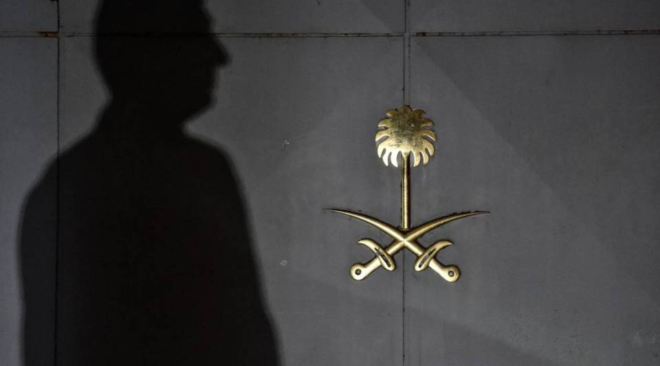Security members of the consulate wait in front of the gate door of the Saudi Arabian consulate on October 17, 2018 in Istanbul.