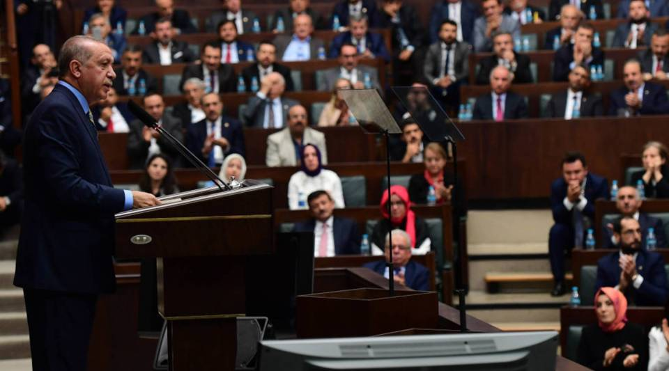 ANKARA, TURKEY - OCTOBER 23: President Recep Tayyip Erdogan speaks about the murder of Saudi journalist Jamal Khashoggi during his weekly parliamentary address on October 23, 2018 in Ankara, Turkey. Erdogan said Khashoggi was the victim of a 'brutal' and 'planned' murder and called for the extradition of 18 suspects to Turkey to face justice. Khashoggi, a U.S. resident and critic of the Saudi regime, went missing after entering the Saudi Arabian consulate in Istanbul on October 2.
