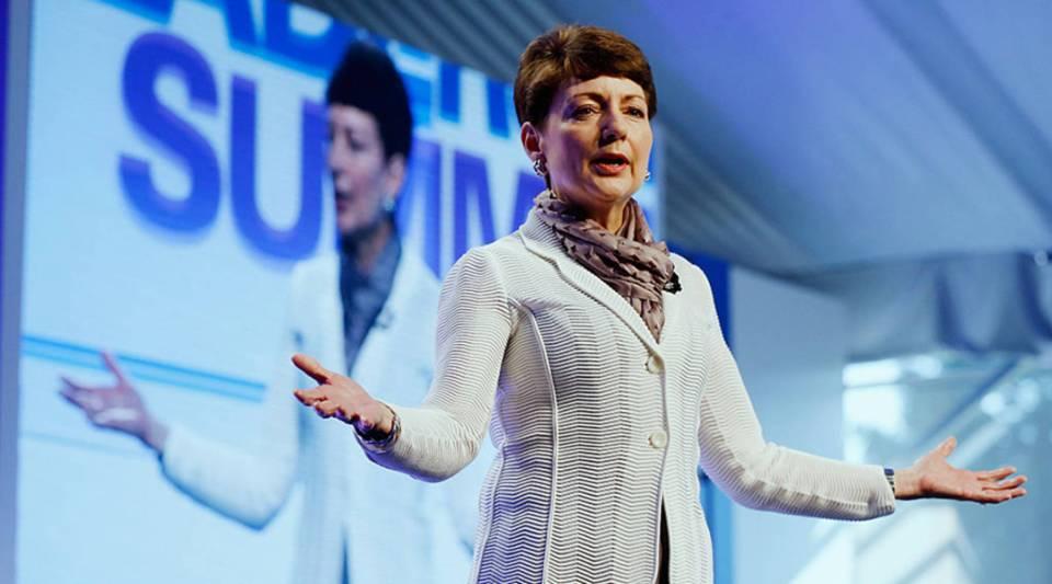 Lynn Good, president and CEO of Duke Energy, speaks at the KPMG Women's Leadership Summit in 2015 in Harrison, New York.