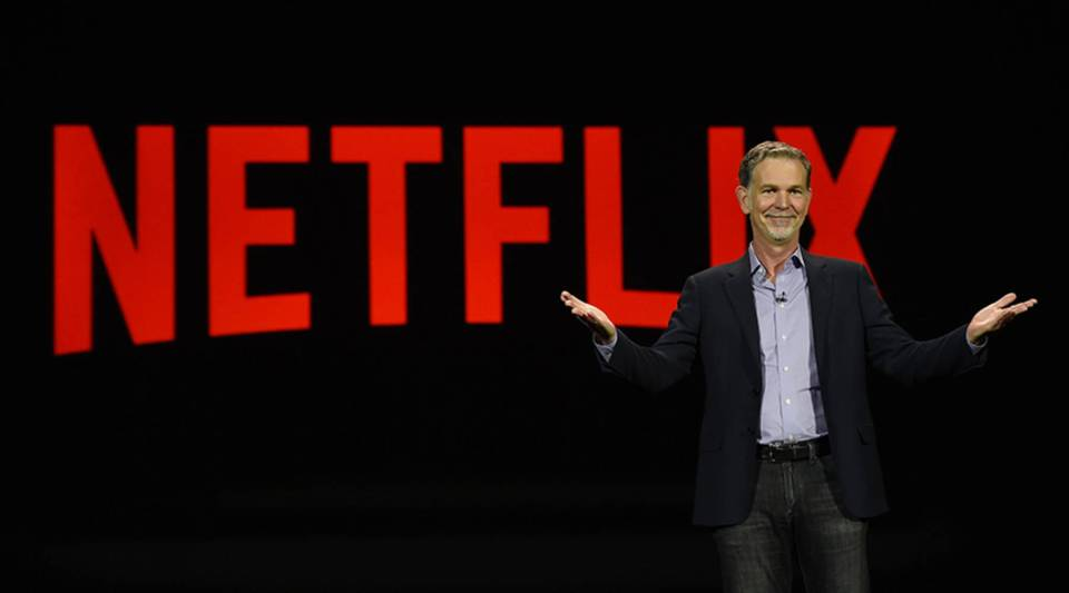 Netflix CEO Reed Hastings delivers a keynote address at CES 2016 at the Venetian Las Vegas.