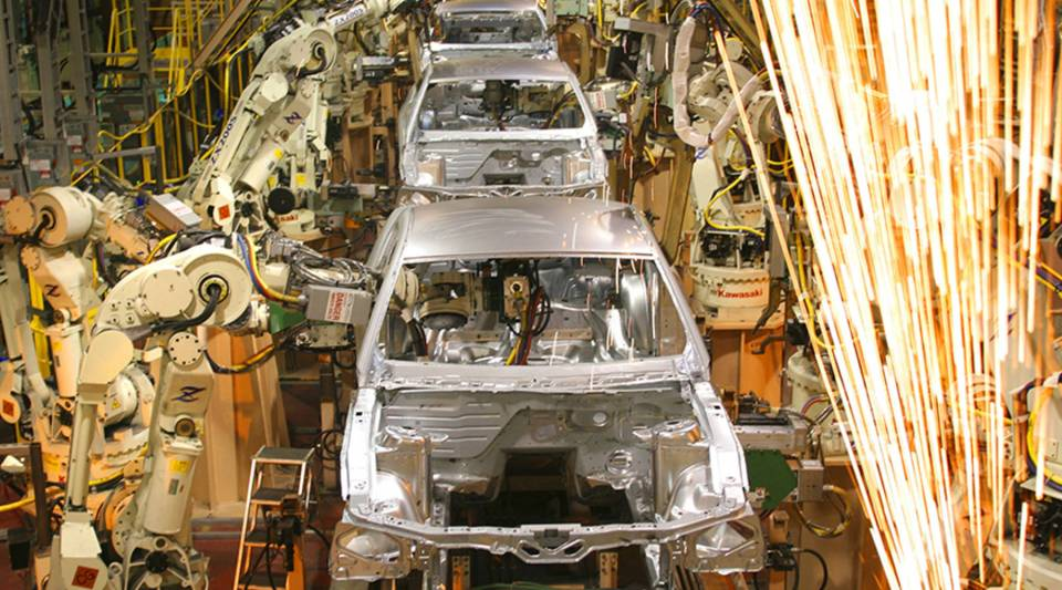 """We have the highest prices in the world right now for aluminum and steel,"" said Kristin Dziczek, a vice president at the Center for Automotive Research. Above, Ford Mustangs are assembled at a plant in Flat Rock, Michigan, in 2004."