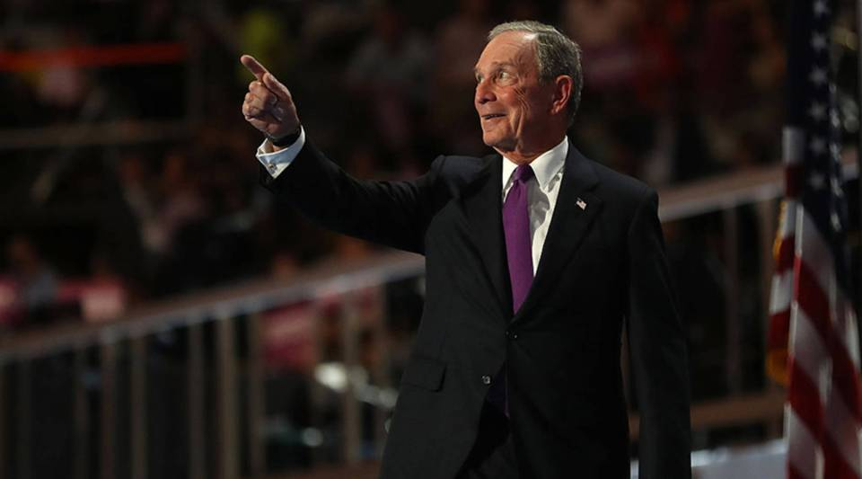 Former New York City Mayor Michael Bloomberg gestures to the crowd as he walks on stage to deliver remarks on the third day of the Democratic National Convention at the Wells Fargo Center, July 27, 2016 in Philadelphia, Pennsylvania.