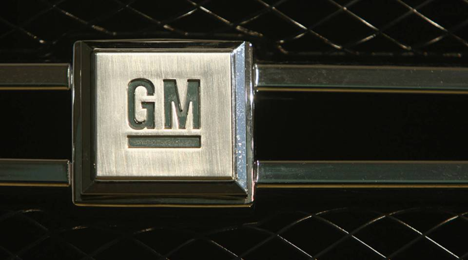 The logo of U.S. carmaker General Motors, or GM, is visible on the front grille of a GM Hydrogen 4 fuel cell-powered car at a presentation by Opel and GM on November 26, 2008 in Berlin, Germany