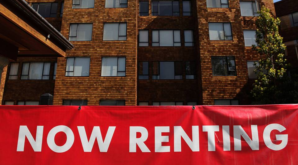 A sign advertising apartments for rent is displayed in front of an apartment complex July 8, 2009 in San Francisco, Calif.